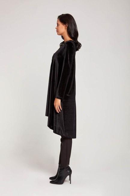 Sequin Velvet Dress (Black) - Thumbnail