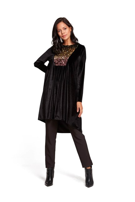 Payetli Kadife Tunik (Siyah) - Thumbnail