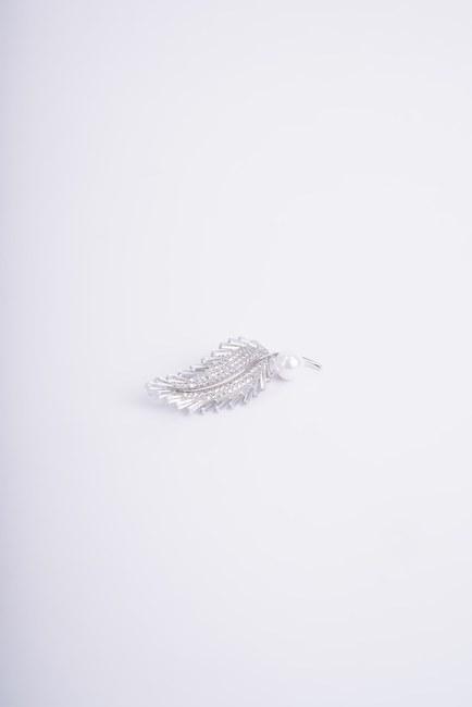 MIZALLE - بروش مزين باللؤلؤ (رمادي) (1)