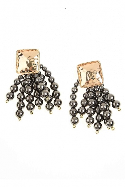 Pearl Detailed Dangling Earring (Anthracite) - Thumbnail