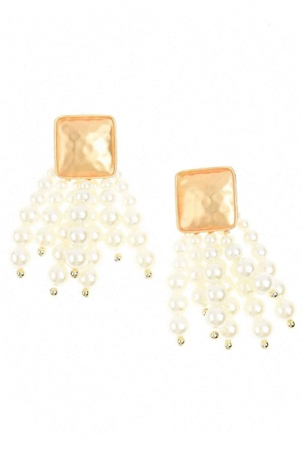 Pearl Detailed Dangling Earring (Ecru) - Thumbnail