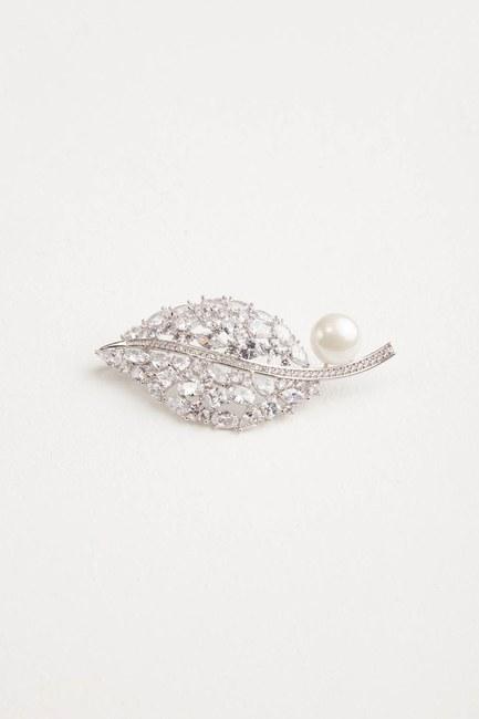 Pearl Detailed Leaf Brooch - Thumbnail
