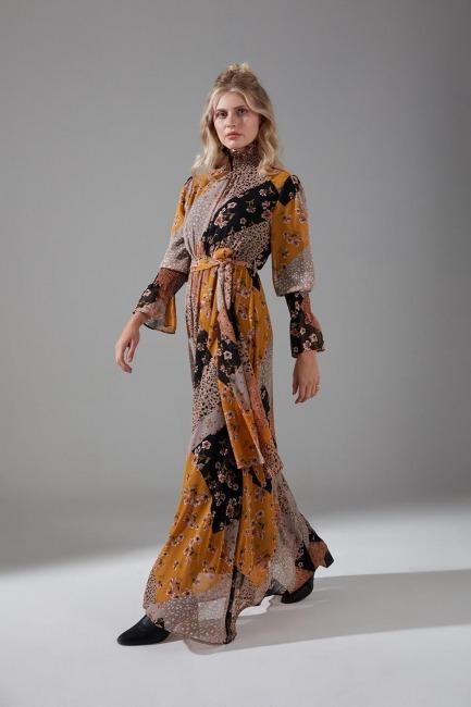 Mizalle - Peç Desenli Elbise