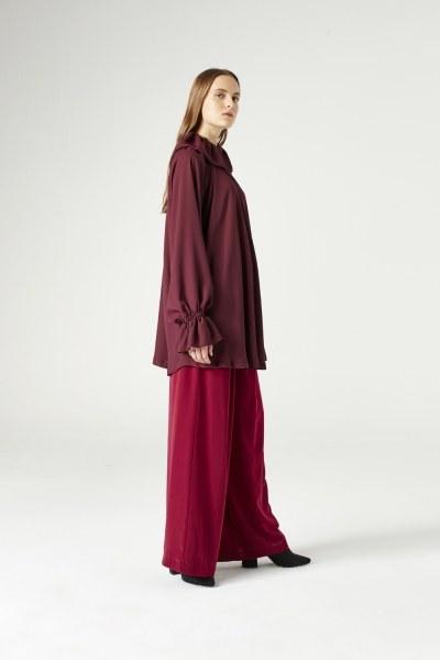 Cloak Collar Dress (Claret Red) - Thumbnail
