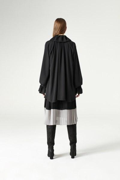 Cloak Collar Dress (Black) - Thumbnail