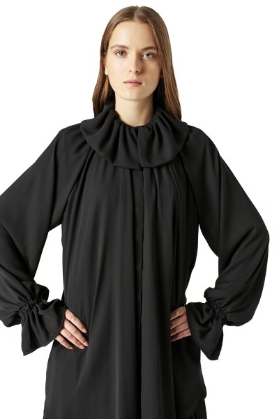 MIZALLE Pelerin Yaka Tunik (Siyah)