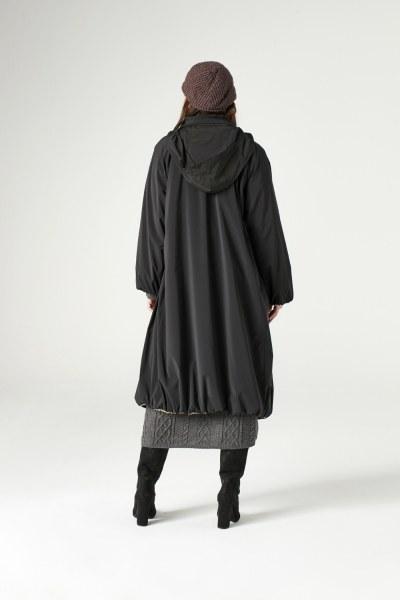 معطف طويل ببطانة بملمس الفرو (أسود) - Thumbnail