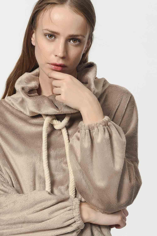 MIZALLE Peluş Sweatshirt (Vizon) (1)