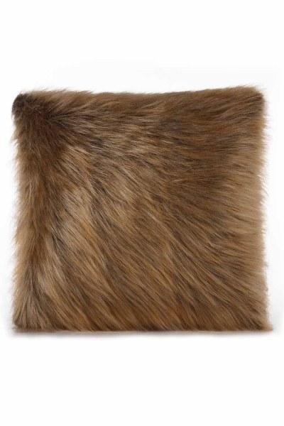 Plush Furry Brown Pillow Case (43X43) - Thumbnail