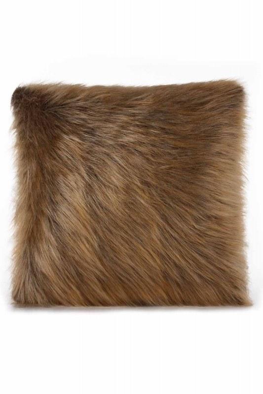 Plush Furry Brown Pillow Case (43X43)