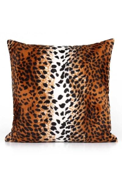 Leopard Patterned Plush Pillow Case (43X43) - Thumbnail