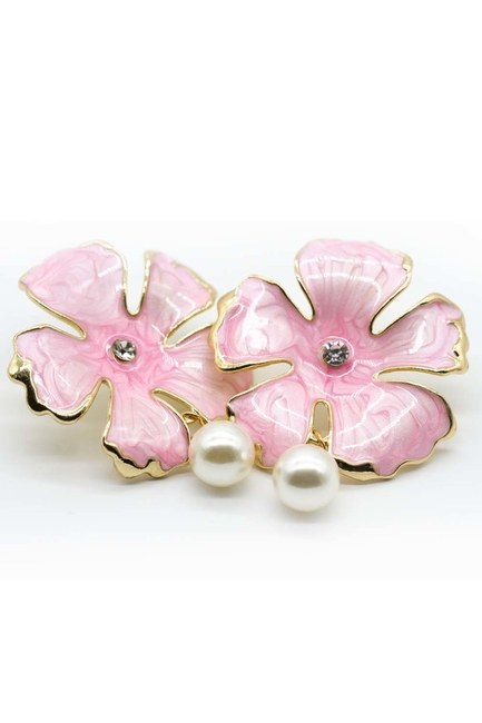 Pink Flower Earrings - Thumbnail