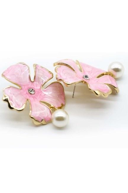 MIZALLE - Pembe Çiçekli Küpe (St) (1)