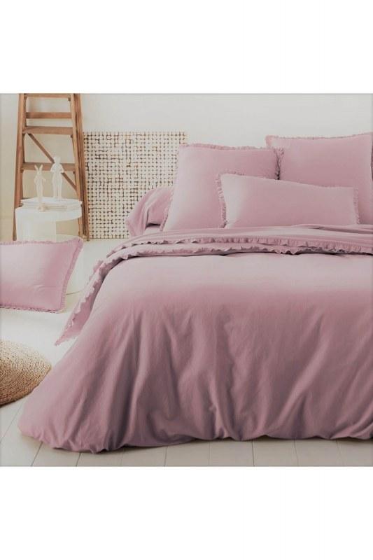Pink Color Double Linens Set (200X220)