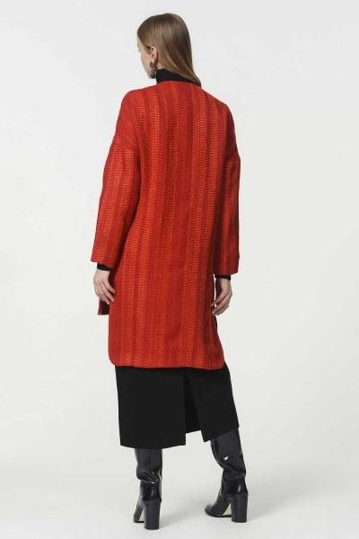 Petek Desenli Ceket (Kiremit) - Thumbnail