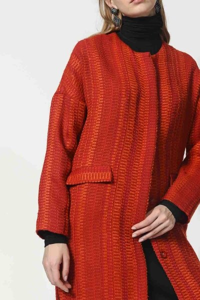 Honeycomb Patterned Jacket (Brick Red) - Thumbnail