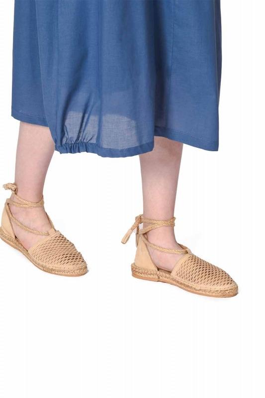 Petek Örgülü Nubuk Ayakkabı (Bej)