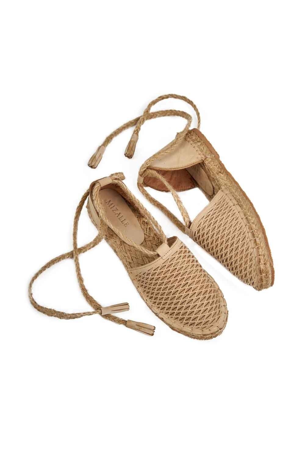 MIZALLE Petek Örgülü Nubuk Ayakkabı (Bej) (1)