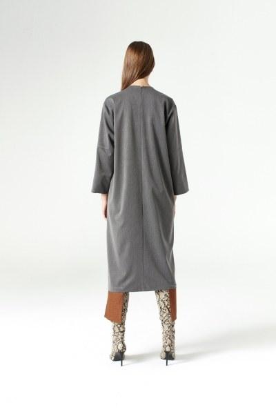 فستان مفصل بقطع ( رمادي ) - Thumbnail