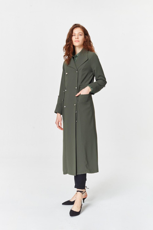MIZALLE معطف الخندق مع أنسجة بايك (تُرَابِـيّ) (1)