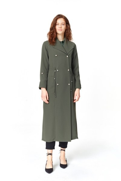 MIZALLE Pique Textured Trenchcoat (Khaki)