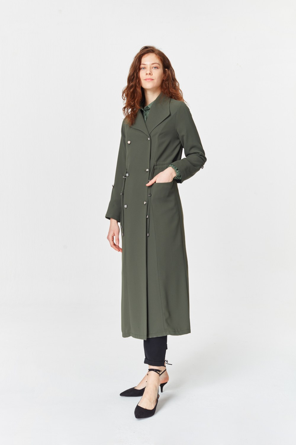 MIZALLE Pike Textured Trenchcoat (Khaki) (1)