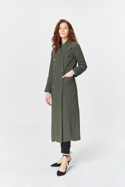 MIZALLE - Pike Textured Trenchcoat (Khaki) (1)