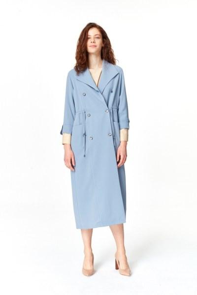 MIZALLE معطف الخندق مع أنسجة بايك (اللون النيلي)