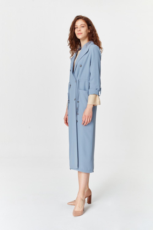 MIZALLE معطف الخندق مع أنسجة بايك (اللون النيلي) (1)