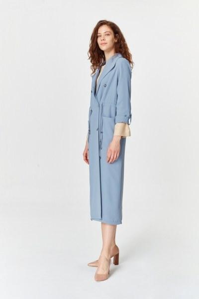 MIZALLE - Pique Textured Trenchcoat (Indigo) (1)