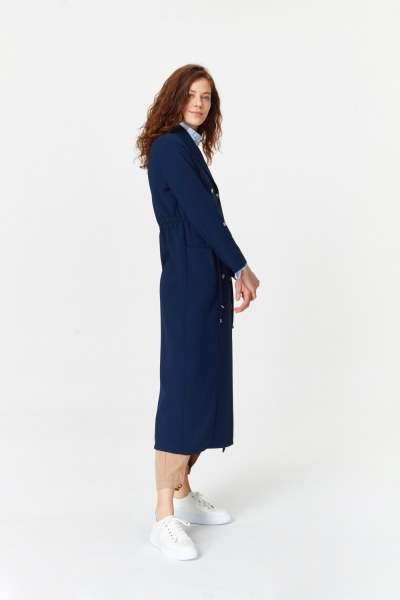 MIZALLE - Pique Textured Trenchcoat (Navy Blue) (1)