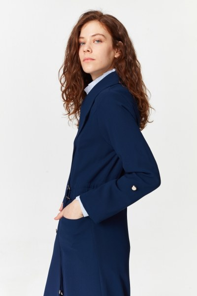 Pike Textured Trenchcoat (Navy Blue) - Thumbnail