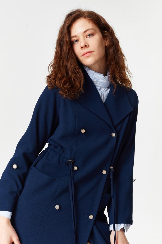 MIZALLE Pike Textured Trenchcoat (Navy Blue) (1)