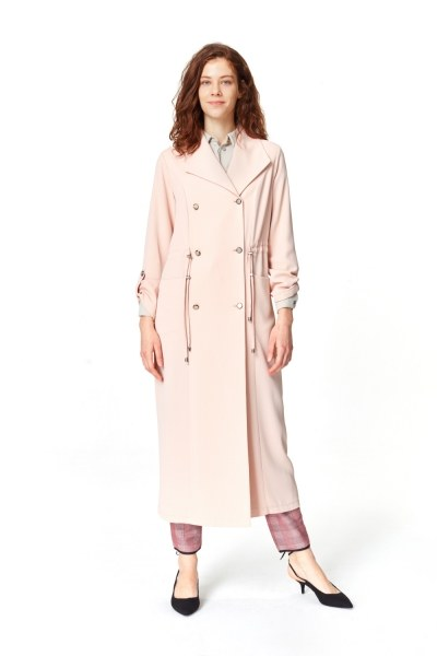 MIZALLE معطف الخندق مع أنسجة بايك (وردي فاتح)