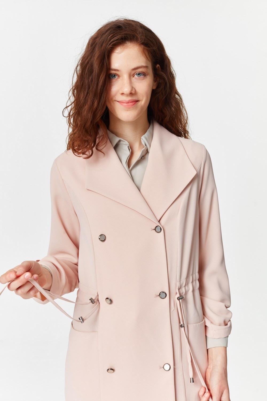 MIZALLE معطف الخندق مع أنسجة بايك (وردي فاتح) (1)