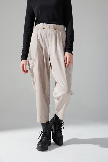 Pile Cepli Pantolon (Bej) - Thumbnail