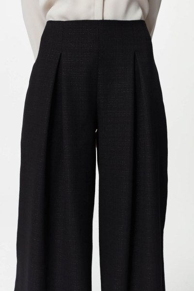 Pile Details Trousers (Black) - Thumbnail