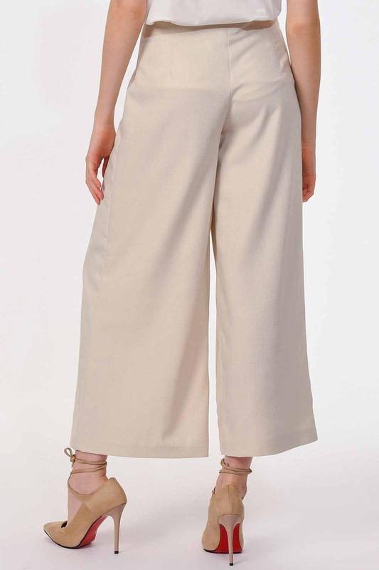 Pile Detaylı Geniş Paça Pantolon (Bej)