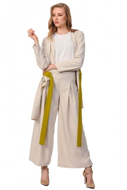 MIZALLE Plated Wide Hem Trousers (Beige)