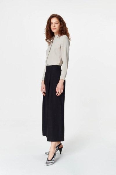 MIZALLE - Pile Detaylı Geniş Paça Pantolon (Siyah) (1)