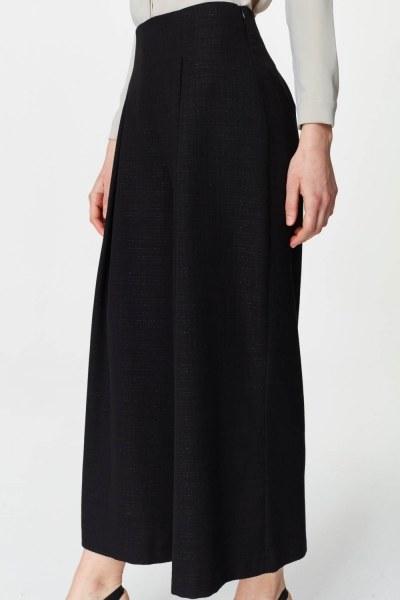 Pile Detaylı Geniş Paça Pantolon (Siyah) - Thumbnail