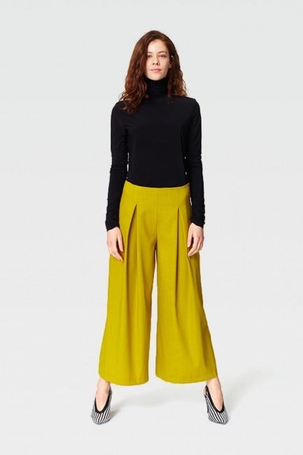 Mizalle - Pile Detaylı Geniş Paça Pantolon (F.Yeşil)