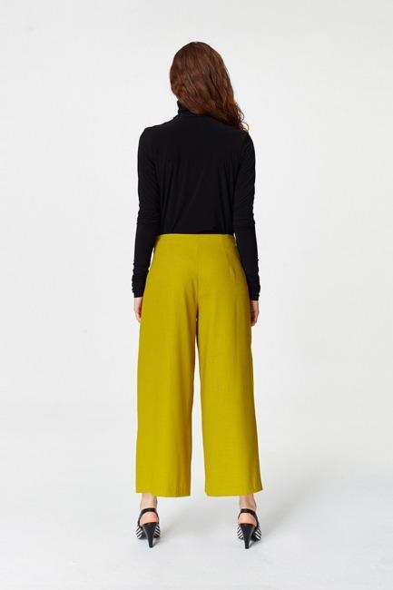 Pile Detaylı Geniş Paça Pantolon (F.Yeşil) - Thumbnail