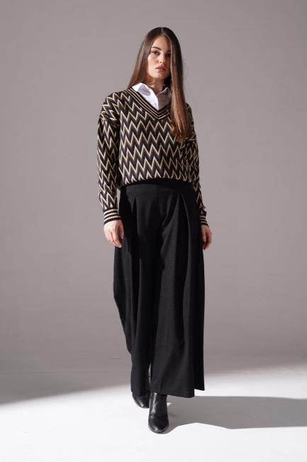 Mizalle - Pile Detaylı Pantolon (Siyah)