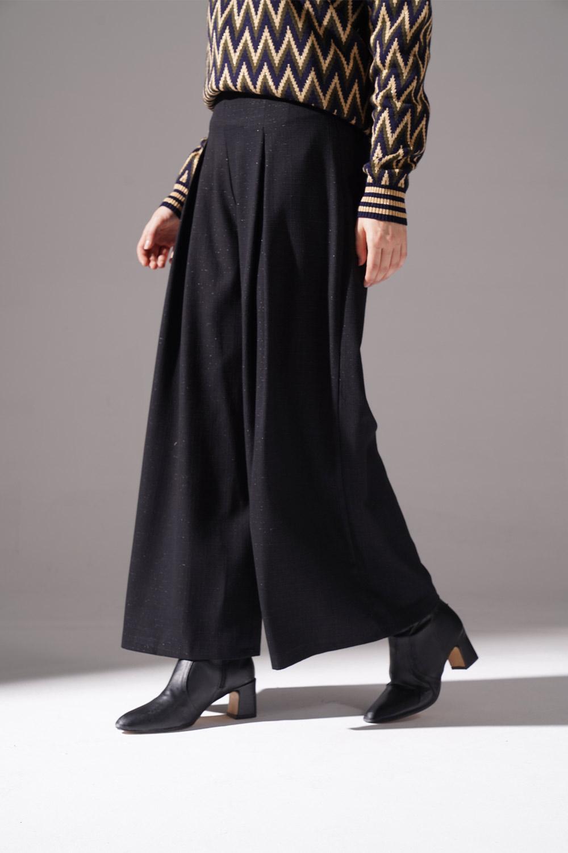 Pile Detaylı Pantolon (Siyah)