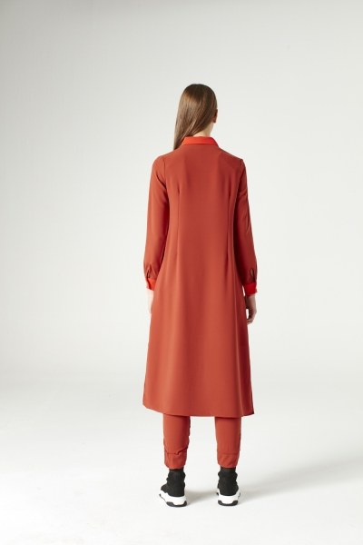 Pile-Pieces Detailed Tunic (Brick Red) - Thumbnail
