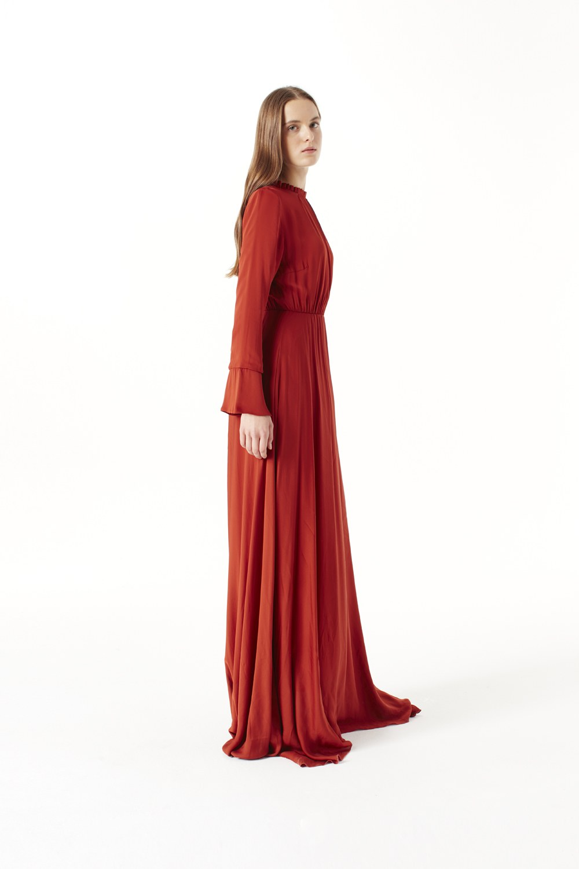 MIZALLE Pile Yaka Detaylı Elbise (Kiremit) (1)