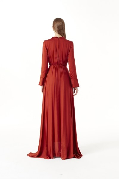 Pleated Collar Detailed Dress (Brick Red) - Thumbnail