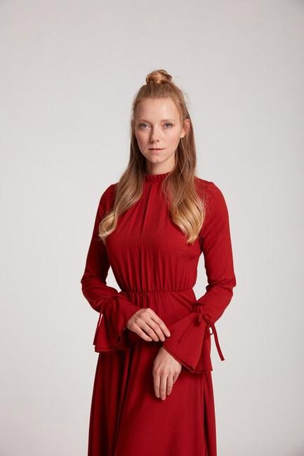 MIZALLE - فستان بكسرات (قرميد احمر) (1)
