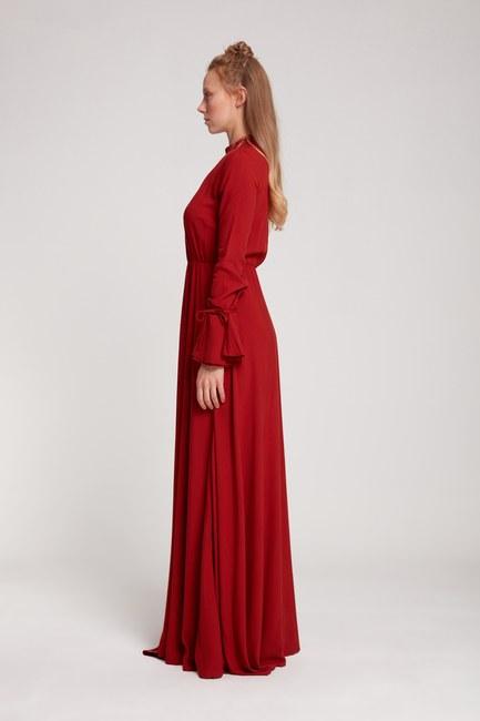 Pile Yaka Detaylı Elbise (Kiremit) - Thumbnail